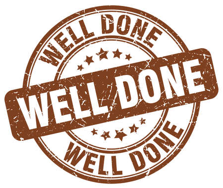 ink well: well done brown grunge round vintage rubber stamp