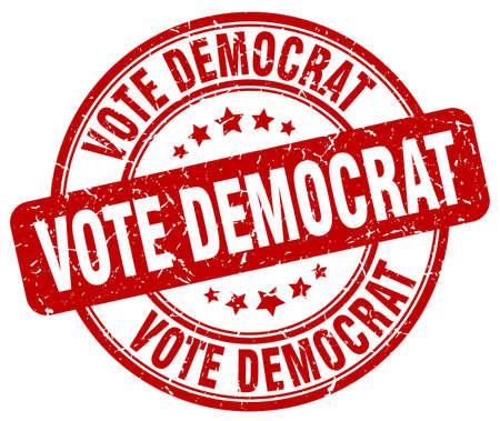 democrat: vote democrat red grunge round vintage rubber stamp