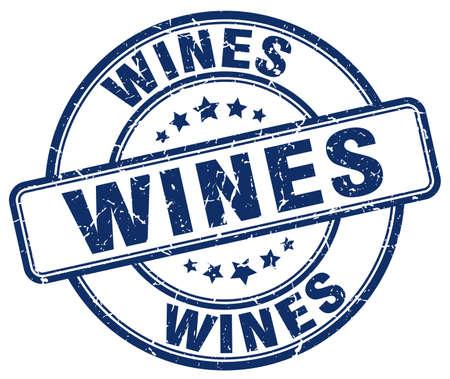 wines: wines blue grunge round vintage rubber stamp
