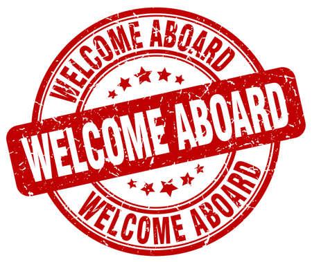 welcome aboard red grunge round vintage rubber stamp Illustration