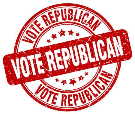 republican: vote republican red grunge round vintage rubber stamp