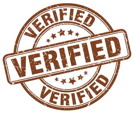 verified stamp: verified brown grunge round vintage rubber stamp Illustration