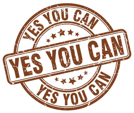 can yes you can: yes you can brown grunge round vintage rubber stamp