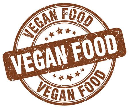 vegan food: vegan food brown grunge round vintage rubber stamp Illustration