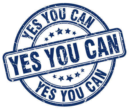 can yes you can: yes you can blue grunge round vintage rubber stamp