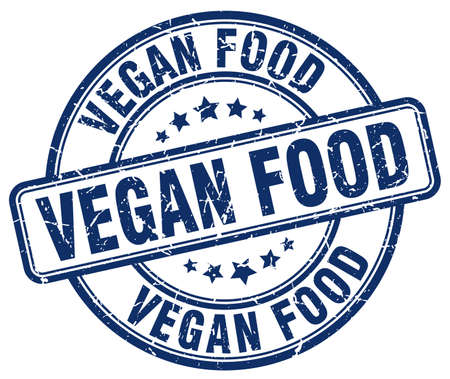 vegan food: vegan food blue grunge round vintage rubber stamp