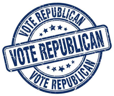 vote républicain grunge rond bleu tampon en caoutchouc cru