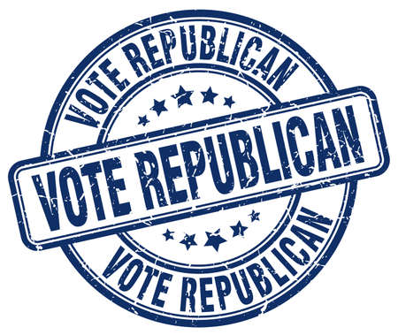 republican: vote republican blue grunge round vintage rubber stamp