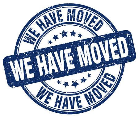 moved: we have moved blue grunge round vintage rubber stamp