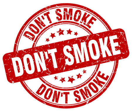 don't: dont smoke red grunge round vintage rubber stamp