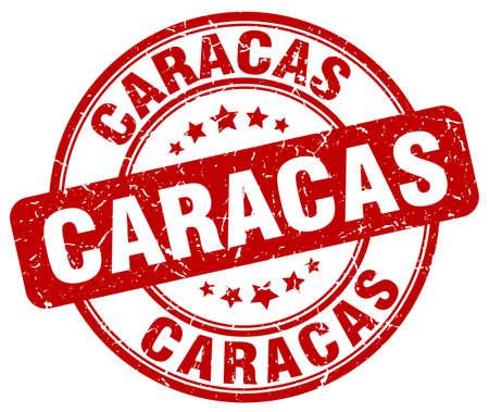 caracas: Caracas red grunge round vintage rubber stamp.Caracas stamp.Caracas round stamp.Caracas grunge stamp.Caracas.Caracas vintage stamp. Illustration