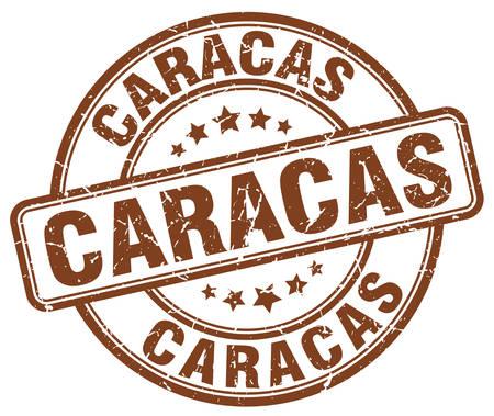 caracas: Caracas brown grunge round vintage rubber stamp.Caracas stamp.Caracas round stamp.Caracas grunge stamp.Caracas.Caracas vintage stamp. Illustration