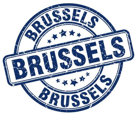 grunge rubber stamp: Brussels blue grunge round vintage rubber stamp.Brussels stamp.Brussels round stamp.Brussels grunge stamp.Brussels.Brussels vintage stamp. Illustration