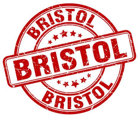 bristol: Bristol red grunge round vintage rubber stamp.Bristol stamp.Bristol round stamp.Bristol grunge stamp.Bristol.Bristol vintage stamp. Illustration