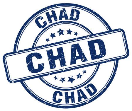 chad: Chad blue grunge round vintage rubber stamp.Chad stamp.Chad round stamp.Chad grunge stamp.Chad.Chad vintage stamp.