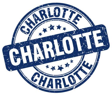 charlotte: Charlotte blue grunge round vintage rubber stamp.Charlotte stamp.Charlotte round stamp.Charlotte grunge stamp.Charlotte.Charlotte vintage stamp. Illustration
