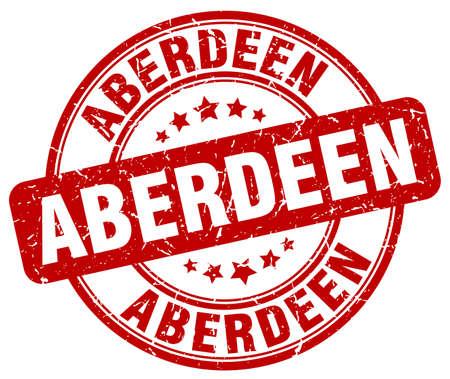 Aberdeen red grunge round vintage rubber stamp.Aberdeen stamp.Aberdeen round stamp.Aberdeen grunge stamp.Aberdeen.Aberdeen vintage stamp. Illustration