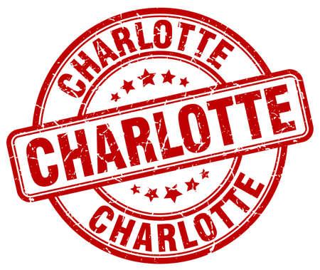 charlotte: Charlotte red grunge round vintage rubber stamp.Charlotte stamp.Charlotte round stamp.Charlotte grunge stamp.Charlotte.Charlotte vintage stamp.