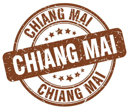 mai: Chiang mai brown grunge round vintage rubber stamp.Chiang mai stamp.Chiang mai round stamp.Chiang mai grunge stamp.Chiang mai.Chiang mai vintage stamp. Illustration