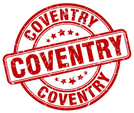 Coventry red grunge round vintage rubber stamp.Coventry stamp.Coventry round stamp.Coventry grunge stamp.Coventry.Coventry vintage stamp. Illustration