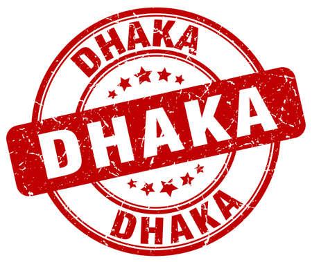 dhaka: Dhaka red grunge round vintage rubber stamp.Dhaka stamp.Dhaka round stamp.Dhaka grunge stamp.Dhaka.Dhaka vintage stamp.