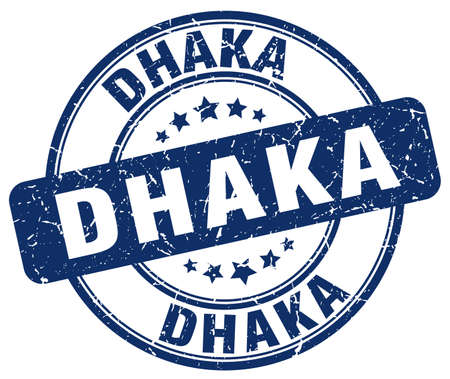 dhaka: Dhaka blue grunge round vintage rubber stamp.Dhaka stamp.Dhaka round stamp.Dhaka grunge stamp.Dhaka.Dhaka vintage stamp.