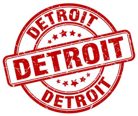detroit: Detroit red grunge round vintage rubber stamp.Detroit stamp.Detroit round stamp.Detroit grunge stamp.Detroit.Detroit vintage stamp. Illustration