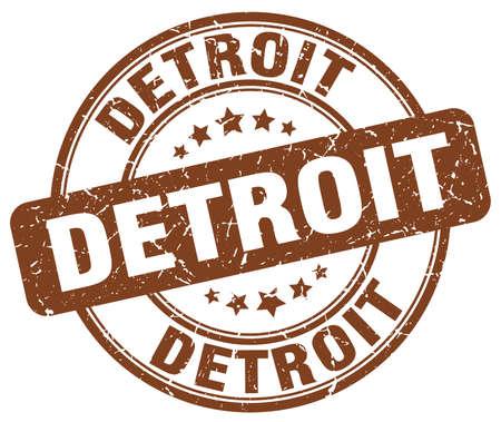 detroit: Detroit brown grunge round vintage rubber stamp.Detroit stamp.Detroit round stamp.Detroit grunge stamp.Detroit.Detroit vintage stamp. Illustration