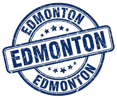 edmonton: Edmonton blue grunge round vintage rubber stamp.Edmonton stamp.Edmonton round stamp.Edmonton grunge stamp.Edmonton.Edmonton vintage stamp.
