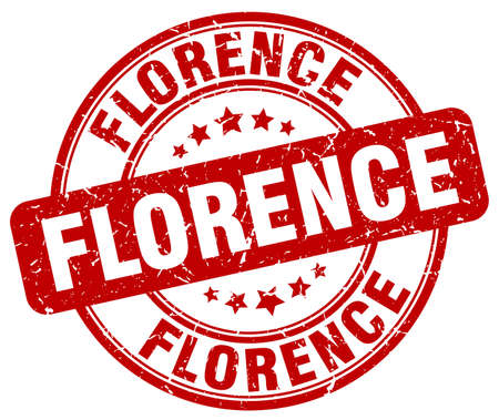 florence: Florence red grunge round vintage rubber stamp.Florence stamp.Florence round stamp.Florence grunge stamp.Florence.Florence vintage stamp.
