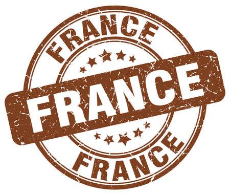 france stamp: France brown grunge round vintage rubber stamp.France stamp.France round stamp.France grunge stamp.France.France vintage stamp. Illustration