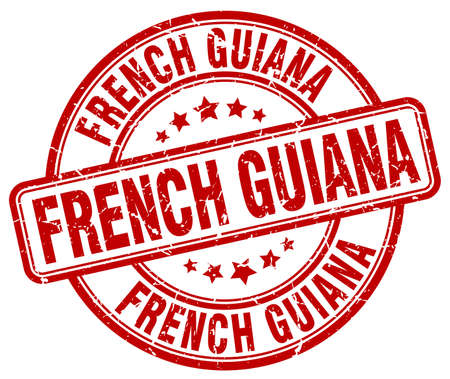 guiana: French Guiana red grunge round vintage rubber stamp.French Guiana stamp.French Guiana round stamp.French Guiana grunge stamp.French Guiana.French Guiana vintage stamp. Illustration