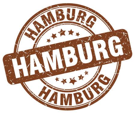 hamburg: Hamburg brown grunge round vintage rubber stamp.Hamburg stamp.Hamburg round stamp.Hamburg grunge stamp.Hamburg.Hamburg vintage stamp. Illustration