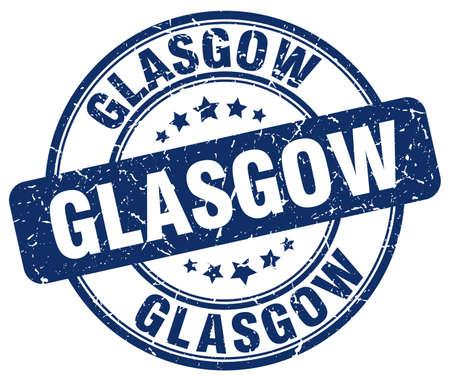 glasgow: Glasgow blue grunge round vintage rubber stamp.Glasgow stamp.Glasgow round stamp.Glasgow grunge stamp.Glasgow.Glasgow vintage stamp.