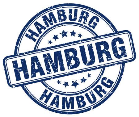 hamburg: Hamburg blue grunge round vintage rubber stamp.Hamburg stamp.Hamburg round stamp.Hamburg grunge stamp.Hamburg.Hamburg vintage stamp. Illustration