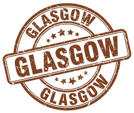 glasgow: Glasgow brown grunge round vintage rubber stamp.Glasgow stamp.Glasgow round stamp.Glasgow grunge stamp.Glasgow.Glasgow vintage stamp.