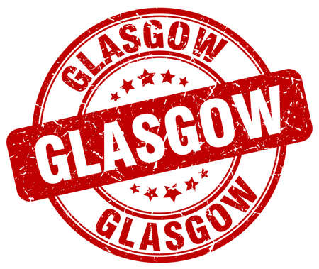 glasgow: Glasgow red grunge round vintage rubber stamp.Glasgow stamp.Glasgow round stamp.Glasgow grunge stamp.Glasgow.Glasgow vintage stamp.