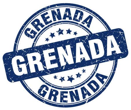 grenada: Grenada blue grunge round vintage rubber stamp.Grenada stamp.Grenada round stamp.Grenada grunge stamp.Grenada.Grenada vintage stamp.