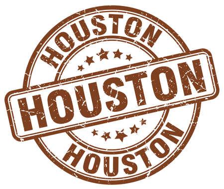 houston: Houston brown grunge round vintage rubber stamp.Houston stamp.Houston round stamp.Houston grunge stamp.Houston.Houston vintage stamp.