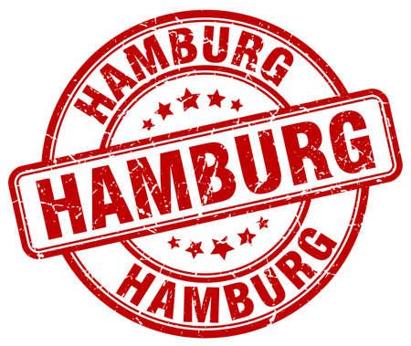 hamburg: Hamburg red grunge round vintage rubber stamp.Hamburg stamp.Hamburg round stamp.Hamburg grunge stamp.Hamburg.Hamburg vintage stamp. Illustration