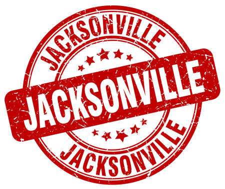 jacksonville: Jacksonville red grunge round vintage rubber stamp.Jacksonville stamp.Jacksonville round stamp.Jacksonville grunge stamp.Jacksonville.Jacksonville vintage stamp. Illustration