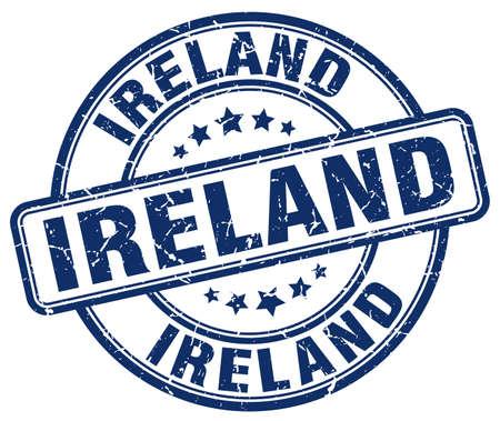 grunge rubber stamp: Ireland blue grunge round vintage rubber stamp.Ireland stamp.Ireland round stamp.Ireland grunge stamp.Ireland.Ireland vintage stamp.