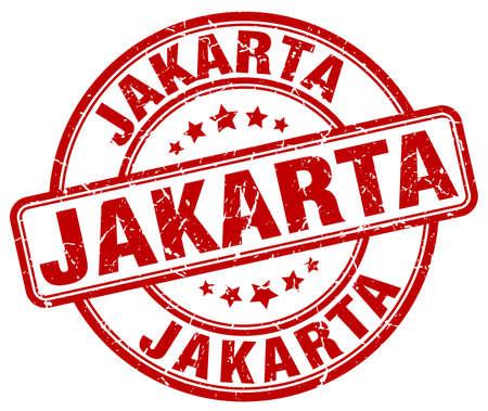 jakarta: Jakarta red grunge round vintage rubber stamp.Jakarta stamp.Jakarta round stamp.Jakarta grunge stamp.Jakarta.Jakarta vintage stamp.