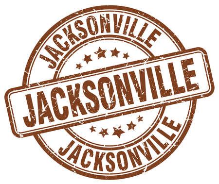 jacksonville: Jacksonville brown grunge round vintage rubber stamp.Jacksonville stamp.Jacksonville round stamp.Jacksonville grunge stamp.Jacksonville.Jacksonville vintage stamp.