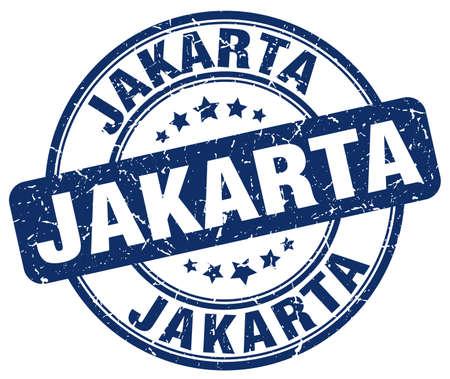 jakarta: Jakarta blue grunge round vintage rubber stamp.Jakarta stamp.Jakarta round stamp.Jakarta grunge stamp.Jakarta.Jakarta vintage stamp. Illustration