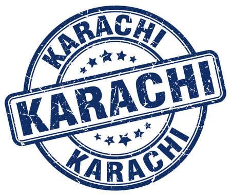 karachi: Karachi blue grunge round vintage rubber stamp.Karachi stamp.Karachi round stamp.Karachi grunge stamp.Karachi.Karachi vintage stamp. Illustration