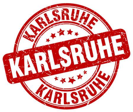 karlsruhe: Karlsruhe red grunge round vintage rubber stamp.Karlsruhe stamp.Karlsruhe round stamp.Karlsruhe grunge stamp.Karlsruhe.Karlsruhe vintage stamp.