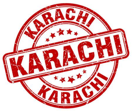 karachi: Karachi red grunge round vintage rubber stamp.Karachi stamp.Karachi round stamp.Karachi grunge stamp.Karachi.Karachi vintage stamp. Illustration
