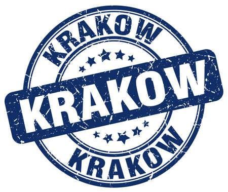 Krakow grunge rond bleu vintage stamp de caoutchouc cru stamp.Krakow stamp.Krakow stamp.Krakow rond grunge. Banque d'images - 57258775
