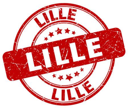 lille: Lille red grunge round vintage rubber stamp.Lille stamp.Lille round stamp.Lille grunge stamp.Lille.Lille vintage stamp. Illustration
